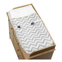 Sweet Jojo Designs - Zig Zag Yellow and Gray Changing Pad Cover by Sweet Jojo Designs - The Zig Zag Yellow and Gray Changing Pad Cover by Sweet Jojo Designs, along with the  bedding accessories.