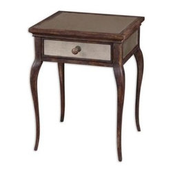 Uttermost - Uttermost 24157 St. Owen Mirrored End Table - Sun washed, natural wood in time worn shades of wheat-Light Bath Lighting russet, with a French dovetail drawer-Light Bath Lighting antiqued mirrors on top, sides-Light Bath Lighting back.