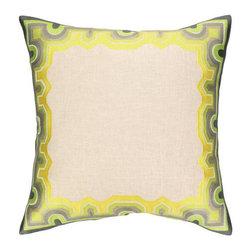 "Peking Handicraft Inc. - Trina Turk Arcata Embroidered Pillow Green/Citron DF 20"" x 20"" - ""20X20"""" 95% RAMIE 5% COTTON"""