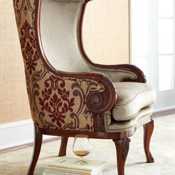 "Massoud - Massoud ""Cambria"" Chair - Exclusively ours. Accent chair with lovely curves features rayon velvet seating and wrapped in an oversized damask design in polyester. Made in the USA of imported materials. Handcrafted of birch wood. Rich golden-brandy finish. 26""W x 23""D x 43""T;..."