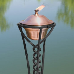 Classic Copper Garden Torch with Braided Floor Stand - Antique Copper - This Classic Copper Garden Torch features a delightfully shaped Braided Floor Stand that will add character to any patio or garden area. You are sure to enjoy this copper torch as it reflects the sun's dancing rays during the day and provides light to your path in evening.