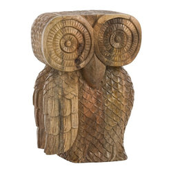 Arteriors - Ora Stool - In many cultures, the owl represents wisdom and intelligence and is a keeper of secrets, which makes this the perfect stool or side table for someone that may have those same qualities.  Hand carved from solid mango wood, each owl will vary.