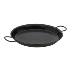Fagor 12.5 in. Enamel on Steel Paella Pan - If paella's the goal, Fagor 12.5 in. Enamel on Steel Paella Pan is your partner in creating a little culinary magic. Fagor pans are made in Spain, keeping designers closely in touch with the manufacturing process to ensure that rigorous quality standards are met. With an extra wide cooking surface, this pan is ideally suited for creating delectably authentic Spanish paella. But lest you think this pan is a one-trick paella pony, you should know it's also an excellent griddle for everything from steaks to pancakes to bacon and eggs. Consider inviting it along on your next camping trip, as it handles not only the oven and the stove, but the outdoor grill as well. Enamel-on-steel construction resists chipping and cracking while being easy to clean and dishwasher friendly.About Fagor America, Inc. Fagor is a wholly owned subsidiary of Fagor Electrodomesticos. Since opening their offices in 1992, the Fagor brand name has become synonymous with high-quality stainless steel pressure cookers. Fagor is currently positioned as a top cookware brand, sold at major retailers nationwide. Along with pressure cookers, Fagor America also offers a line of specialty cookware. In 2005, Fagor America established its appliance division in the United States.Fagor is a brand renowned for product innovation, quality, and performance. They strive to offer products that create a lifestyle of increased comfort, convenience, and energy savings.