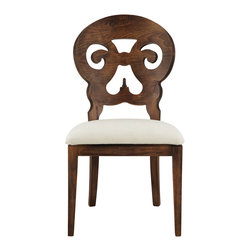 Jordan Side Chair - A classic silhouette takes on an exotic flair in this delightfully different dining chair that elevates everyday dining to a whole new level. This intriguing piece incorporates a unique blending of design and cultural influences, from the Italian bistro style back to the Regency scrolled arms to the Persian-inspired scrollwork. The rich rubbed finish and elegant scrollwork are the perfect accompaniment to a sleek table, elevating the look from simple to striking.