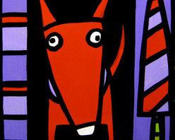 Red Dog + One Tree   (Original) by Anne Leuck Feldhaus - ��Anne Leuck Feldhaus