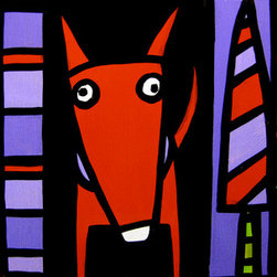 """Red Dog + One Tree  "" (Original) By Anne Leuck Feldhaus - Anne Leuck Feldhaus"
