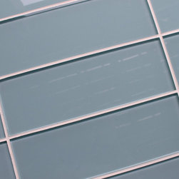 """Rocky Point Tile - Jasper 4"""" x 12"""" Glass Subway Tiles, Blue, 3"""" X 6"""" Sample - Jasper Blue 4"""" x 12"""" glass subway tiles. A gentle light blue with a slightly gray undertone best describe our Jasper glass subway tiles. A perfect choice for a bathroom tub surround, or a white kitchen in need of a touch of color. These tiles come loose packed giving you the option to arrange them in the pattern of your choice. Each tile is back painted and has a high gloss finish."""