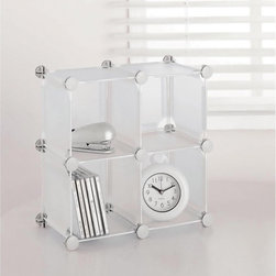 Organize It All - Small Frosted White Storage Cube - This modern,stylish polypropylene organization cube features a frosted white shade. Conveniently configurable to any shape,this clutter reducing essential is great for displaying decorative items,CD's,DVD's,and many other accessories.