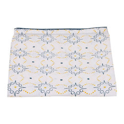 Mia + Finn - Preston Mimosa/Celestial Blue Flat Sheet, Full/Queen - This flat sheet is made from 300 thread count cotton percale, for a soft feel and machine-washable convenience. Each sheet is individually block-printed, resulting in subtle variations that are a hallmark of this age-old process. Pair with a matching fitted sheet, or mix patterns and colors for a more informal look.