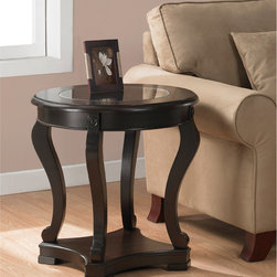 None - Geurts Espresso End Table - This espresso wooden end table makes a perfect addition to the contemporary home. Made of wood, birch veneers, and MDF, this end table has a rich espresso stain that is compatible with many home decors. It also features tempered glass on the tabletop.
