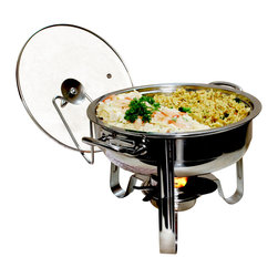 Cookpro - 4-Quart Stainless Steel Chafing Dish - Oh, stop it already with the disposable aluminum pans! It's time to add some style to your next soiree with this chafing dish. The warming base is made of shiny stainless steel that holds up to four quarts of your favorite fiesta fare. There's even a glass lid and a holder to keep it tidy.