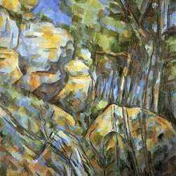 """Paul Cezanne Rocks near the Caves above the Chateau Noir   Print - 16"""" x 20"""" Paul Cezanne Rocks near the Caves above the Chateau Noir premium archival print reproduced to meet museum quality standards. Our museum quality archival prints are produced using high-precision print technology for a more accurate reproduction printed on high quality, heavyweight matte presentation paper with fade-resistant, archival inks. Our progressive business model allows us to offer works of art to you at the best wholesale pricing, significantly less than art gallery prices, affordable to all. This line of artwork is produced with extra white border space (if you choose to have it framed, for your framer to work with to frame properly or utilize a larger mat and/or frame).  We present a comprehensive collection of exceptional art reproductions byPaul Cezanne."""