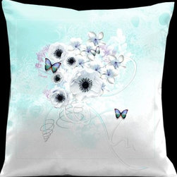 Lama Kasso - Valentines Day Aqua and White with Tropical Butterflies 18 x 18 Satin Pillow - -Satin Lama Kasso - 166