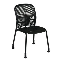 Space - Deluxe SpaceFlex Visitors Chair in Black - Se - Crafted with both comfort and style in mind, this deluxe visitors chair will be an appealing choice for your office decor. Sold in a set of two, the chair has a tubular steel frame and a flexible plastic seat and back that adjusts to each person's body and movement. Set of 2. Black finish frames with glides. Self adjusting SpaceFlex seat and back. Seat: 18 in. W x 18 in. D. Back: 18 in. W x 19 in. H. 21.5 in. W x 22.5 in. L x 35 in. H (33 lbs.)
