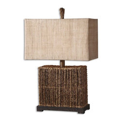 Natural Palm Branch Rattan Table Lamp - *Natural palm branches strung together with woven rattan accented with a rustic bronze foot.