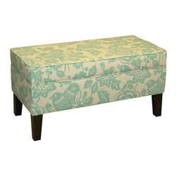 Skyline Furniture - Teal Storage Bench - Polyurethane foam fill. 100% polyester upholstery. Made from premier solid wood. Made in USA. Assembly required. Interior: 7 in. H x 16.5 in. W x 36.5 in. L. 38.5 in. L x 18.5 in. W x 19.5 in. H (38 lbs.)