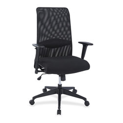 Lorell - Lorell Synchro-tilt Mesh Back Suspension Chair - Fabric Black Seat - High-functioning, high-back suspension chair features an upscale design and ergonomic support with unparalleled comfort. Tubular framing wrapped in an elastic substructure provides support and is topped with a layer of polyurethane foam. With no traditional seat or backboards used, this chair provides long-lasting supportive comfort. Breathable mesh back offers flexibility. Seat is upholstered in fabric. Arms adjust in height. Synchro-tilt lets the back recline at a 2-to-1 ratio to seat angle. Pivot point is located near front edge of chair. Five-star base is equipped with casters for easy chair movement. Weight capacity is 250 lb.