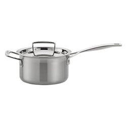 """Le Creuset® Stainless Steel 2 qt. Saucepan with Lid - Now experience the heritage and quality of Le Creuset in new hi-tech, tri-ply cookware that conducts heat so evenly and energy-efficiently that only low to medium heat is needed for most cooking. Premium quality stainless steel sandwiches a """"total"""" aluminum core—from the base all the way up to the drip-free, precision pour rims—for even heat throughout. A special magnetic steel makes it perfect for all cooktops, including induction. Ergonomic assist handle provides a comfortable, confident grip; tight-fitting lid locks in flavor and moisture."""