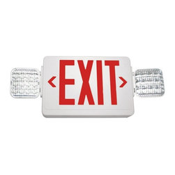 Exitronix - VLED Exit Emergency Light with Battery Backup - Single Face, Red Letters - Combining LED exit illumination with reliable LED lamp heads, this attractive low-profile design offers maintenance-free, long life dependable service. Easily mounts above doors and in restricted spaces to fit any application.