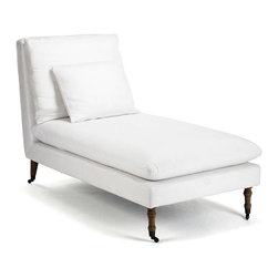 Corey Chaise, White Cotton - Become enamored of the hard-to-find combination of clean lines and plump upholstery when you place the Corey White Cotton Chaise in your home. A fresh element of furniture amongst worn finishes or a bright, suave addition to pared-down neutral palettes, this chaise finds a touch of warmth in its caster-tipped turned feet, enhancing its look of comfort.