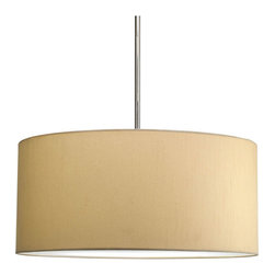 Progress Lighting - Progress Lighting P8825-01 Markor Shades in Beige Silken Fabric - Modular pendant system. Choose shade and 1-light stem (P5198) or 3-light stem (P5199) to make complete fixture. 22in Drum Shade with Beige Silken Fabric inspired by mid-century design.