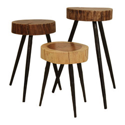 Cobble Hill Terra Stools/Side Tables - Acacia and iron come together to create the most stunning side tables. These would bring a nice natural element to a living room space.