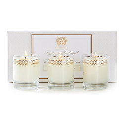 Lavender and Lime Blossom Three Votive Candle Gift Set 3 oz. - Botanical motifs stylized into neoclassical metallic patterns circle the rim of each Lavender and Lime Blossom Votive Candle, offered as a set of three to scent a bath, create a lit vignette, or serve as an unquestionably elegant luxury hostess or client gift. The scent of the gift set's trio of candles mingles a hillside of Provence lavender with the distant breeze from a blooming grove of limes.