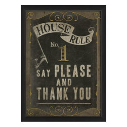 The Artwork Factory - House Rule No 1 Framed Artwork - Everyone needs a gentle manners reminder now and again, and with this formal invitation to politeness on your wall, your family will be inspired to choose their words with care. Elegantly framed in black wood, this lovely print would look smart in your kitchen or dining room.