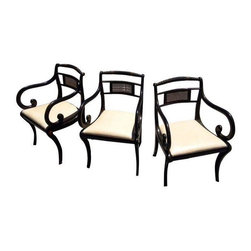 Pre-owned Antique French Cane Chair - Set of 3 - A great trio of black wood and cane chairs with newly upholstered cream leather seats. The frames are weathered and worn. Each has a unique sense of character. Beautiful for any environment.