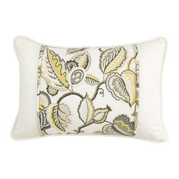 Waverly - Fantasy Fleur Pumice 14 x 20-Inch Oblong Pillow - - Transform any bedroom with the Waverly Fantasy Fleur Bedding Collection. Ensemble features a tree-of-life design with leaves and fruit accents brought to life in warm hues of yellow, stone grey, charcoal grey with cream and ivory contrasts.   - Oblong pieced pillow  - Cream ground with self piping, accented with floral basket weave inset  - Hidden zipper closure  - 100% cotton twill  - Spot Clean Only Waverly - 13545014X020PUM
