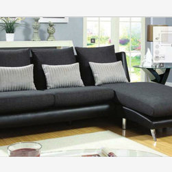 Modern Unique Gray Black Fabric Leather Sectional Sofa Couch Chiase - A great addition to any modern home, this sectional will bring sophistication to the living room,. Two contrasting fabrics are used in the seat and pillows, while the frame is upholstered in black leatherette.
