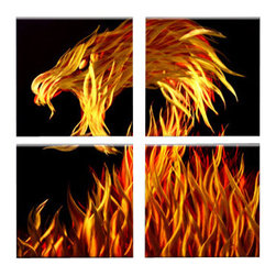 Matthew's Art Gallery - 'Fire Dragon' Metal Wall Art - Name: Dragon Flames