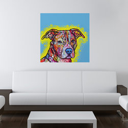 My Wonderful Walls - Painted Pit Bull Wall Sticker - Decal, Small - - Painted Pit Bull graphic by Dean Russo