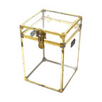 Pre-owned Small Vintage Lucite and Brass Trunk - Vintage Lucite and Brass trunk. Has Vintage wear, scratches and one missing handle. It's very rare to find a Vintage edition lucite trunk, and this one is fabulous! Just think of all the pretty things you could fill it with!
