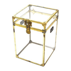 Used Small Vintage Lucite and Brass Trunk - Vintage Lucite and Brass trunk. Has Vintage wear, scratches and one missing handle. It's very rare to find a Vintage edition lucite trunk, and this one is fabulous! Just think of all the pretty things you could fill it with!