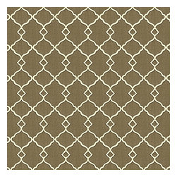 Taupe Classic Trellis Cotton Sateen Fabric - Small classic cream trellis on flooded mushroom brown cotton sateen.Recover your chair. Upholster a wall. Create a framed piece of art. Sew your own home accent. Whatever your decorating project, Loom's gorgeous, designer fabrics by the yard are up to the challenge!