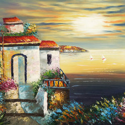 """overstockArt.com - Mediterranean Sunset - 20"""" X 24"""" Oil Painting On Canvas This remarkable oil painting of a Mediterranean villa was handmade with great attention to detail. The sun setting over the sea has a look of illumination and warmth that no print can capture. The brightly colored floral path and trees complete this painting beautifully."""