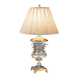 """Inviting Home - Peacock Motif Crystal Lamp - Hand-crafted solid brass table lamp with crystal urn and peacock motif; 17"""" x 29-1/4""""H; Hand-crafted solid brass table lamp with crystal urn and peacock motif. Table lamp has an antiqued finish square footed base and round pinch-pleated fabric shade; max.150 watts. shade size: 8"""" top 17"""" bottom 11-1/4"""" high 12"""" slant height. UL approved - dry location - plug-in."""