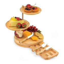 Home Decorators Collection - Regalio Serving Tray Set - The Regalio Serving Tray Set is a three-tiered combination serving tray and cheese board with three cheese tools and two serving plates. The two serving trays sit atop the cheese board base and swivel from side to side so you can create the most fitting and attractive food arrangement. Tiers are connected with two stainless steel poles and are topped off with a wooden finial. The tools are stainless steel with rubberwood handles and include one spreader (with serrated opposing edge), one hard cheese knife, and one fork-tipped cheese knife.