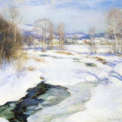 """Willard Leroy Metcalf Icebound Brook (Winter's Mantle)  Print - 16"""" x 20"""" Willard Leroy Metcalf Icebound Brook (also known as Winter's Mantle) premium archival print reproduced to meet museum quality standards. Our museum quality archival prints are produced using high-precision print technology for a more accurate reproduction printed on high quality, heavyweight matte presentation paper with fade-resistant, archival inks. Our progressive business model allows us to offer works of art to you at the best wholesale pricing, significantly less than art gallery prices, affordable to all. This line of artwork is produced with extra white border space (if you choose to have it framed, for your framer to work with to frame properly or utilize a larger mat and/or frame).  We present a comprehensive collection of exceptional art reproductions byWillard Leroy Metcalf."""