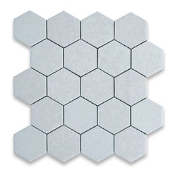 "Stone Center Corp - Thassos White Marble Hexagon Mosaic Tile 3 inch Honed - Thassos white marble 3"" (from point to point) hexagon pieces mounted on a sturdy mesh tile sheet"