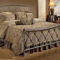 Hillsdale - Silverton Metal Bed - This traditional bed has an uncommon beauty. The latticework design is reminiscent of the button and tuck style. The charm of this bed is carried through out in the gently curved headboard and footboard and bronze pewter finish. Features: -Foundry-poured aluminum castings.-Heavy gauge tubing and solid bar.-Fully welded construction.-Finished in Bronze Pewter.-Recommended care: Dust frequently using a clean, specially treated dusting cloth that will attract and hold dust particles. Do not use liquid or abrasive cleaners as they may damage the finish..-Distressed: No.-Collection: Silverton.Dimensions: -Overall Product Weight: 70 - 90.1 lbs. About the Manufacturer: About Hillsdale House Furniture Located in Louisville, KY, Hillsdale House Furniture has produced an enormously popular collection of bedroom and accent furniture. Hillsdale House items are constructed of quality materials and offered at an affordable price. We are an authorized dealer of the full line of Hillsdale House furniture; if you can''t find a specific Hillsdale piece, give us a call!