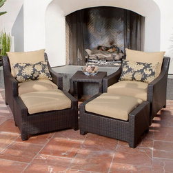 RST Brands - RST Outdoor Delano 5 Piece Club Chairs and Ottomans Set Multicolor - OP-PECLB5-D - Shop for Tables and Chairs Sets from Hayneedle.com! Relax in the outdoors with friends and family with the RST Outdoor Delano 5 Piece Club Chairs and Ottomans Set a stylish and comfortable outdoor seating set that's constructed with hand woven rich espresso colored polyethylene wicker. Made of 100% recycleable materials the set's PE wicker is cool to the touch and retains its deep luster no matter how long it has been exposed the harsh rays of the sun. The framework is made of textured bronze color powder-coated aluminum and crafted to withstand the most extreme weather conditions. It's also engineered to withstand sea-salt and chlorinated environments.The set includes two club chairs measuring 29 inches outside edge to edge 22.5 inches inside to inside; 31 inches outside front to back 24 inches inside seating area from front to back and 31 inches from the floor to the top of the back. There's also two ottomans at 29 inches wide by 20 inches deep by 17 inches high. A side table measures 20 inches wide by 20 inches long by 16 inches high. The coffee and end tables requires minor assembly. The matching coffee table measures 26 inches wide by 46 inches long by 16 inches high. It requires minor assembly.SolarFast outdoor fabric is engineered to be long lasting fade-resistant and durable. It also allows the fabric to retain color and vibrancy and is designed to be fast drying to avoid mildewing. The set is easy to clean with mild soap and water.About Red Star TradersSince 2004 Red Star Traders LLC (made up of RST Outdoor RST Living and FlowWall System) has designed and manufactured products in the outdoor living home decor and wall-based organizational products categories. Red Star is a direct import product marketing company. Red Star categories of focus include jewelry boxes men's gifts & furnishings and RTA furniture. Their team of marketing and design professionals can hel