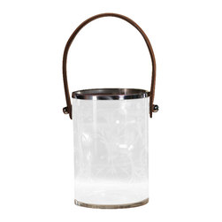 Zodax - Leaf Design Decaled Ice Bucket/Hurricane with Leather Handle - Large by Zodax - Leaf Design Decaled Ice Bucket/Hurricane with Leather Handle - Large by Zodax