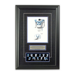 """Heritage Sports Art - Original art of the NFL 1958 Indianapolis Colts uniform - This beautifully framed piece features an original piece of watercolor artwork glass-framed in an attractive two inch wide black resin frame with a double mat. The outer dimensions of the framed piece are approximately 17"""" wide x 24.5"""" high, although the exact size will vary according to the size of the original piece of art. At the core of the framed piece is the actual piece of original artwork as painted by the artist on textured 100% rag, water-marked watercolor paper. In many cases the original artwork has handwritten notes in pencil from the artist. Simply put, this is beautiful, one-of-a-kind artwork. The outer mat is a rich textured black acid-free mat with a decorative inset white v-groove, while the inner mat is a complimentary colored acid-free mat reflecting one of the team's primary colors. The image of this framed piece shows the mat color that we use (Medium Blue). Beneath the artwork is a silver plate with black text describing the original artwork. The text for this piece will read: This original, one-of-a-kind watercolor painting of the 1958 Baltimore Colts (now Indianapolis Colts) uniform is the original artwork that was used in the creation of this Indianapolis Colts uniform evolution print and tens of thousands of other Indianapolis Colts products that have been sold across North America. This original piece of art was painted by artist Tino Paolini for Maple Leaf Productions Ltd.  1958 was a NFL Championship winning season for the Baltimore Colts. Beneath the silver plate is a 3"""" x 9"""" reproduction of a well known, best-selling print that celebrates the history of the team. The print beautifully illustrates the chronological evolution of the team's uniform and shows you how the original art was used in the creation of this print. If you look closely, you will see that the print features the actual artwork being offered for sale. The piece is framed with an extremely """