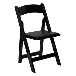 Flash Furniture - Flash Furniture Hercules Series Black Wood Folding Chair with Vinyl Padded Seat - This Wood Folding Chair from Flash Furniture is the premier solution for banquets, weddings, graduations, and any other event where easy setup and easy breakdown is a must. This chair sets up quickly and stacks easily to be stored away until your next event. Constructed from choice hardwoods, painted and lacquered, and then topped with a comfortable vinyl upholstered seat, this wood folding chair will last for many events in years to come.