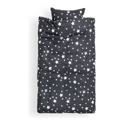 Duvet Cover Set, Charcoal Gray - Future astronauts will love this black and white set.