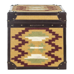 Safavieh - Stagecoach Trunk ACS6501A - Images of America's early cross-country travelers are reawakened in this steamer trunk table covered with a stunning kilim carpet woven of jute to create a Navajo blanket motif. Stagecoach is designed for use as an end table, or in pairs as a convenient coffee table.