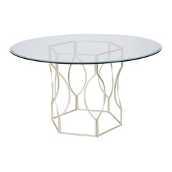 "Worlds Away - Worlds Away Silver Leafed Hex Dining Table with 54""Dia Glass Top ABIGAIL S54 - Worlds Away Silver Leafed Hex Dining Table with 54""Dia Glass Top ABIGAIL S54"