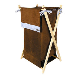 Trend Lab - Trend Lab Max Crib Bedding Set - Hamper (Brown and Blue Ultrasuede) - Trend Labs Brown and Blue Ultrasuede Hamper is a decorative solution for quick clean up in your nursery bathroom or laundry room. The chocolate brown ultrasuede body and outer flap with blue accent stripe and ties easily attaches to the collapsible pine wood frame. Machine washable inner mesh liner is removable making the transport of laundry effortless. Assembled hamper measures 27 x 15 x 15.